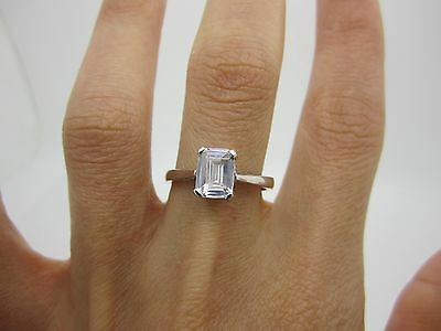 SIZE Q UNIQUE SOLID SILVER ENGAGEMENT Ring with HUGE CENTRAL STONE 925 2.9 GR