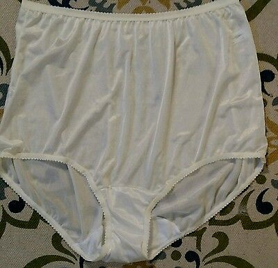 Vintage Shadowline Silky White Full Cut Nylon Granny Panty Briefs Sz 9