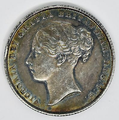1855 Victoria One Shilling Great Britain Silver Coin Nice Toning
