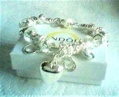 Beautiful Crystal White, Love &  Luck High Quality Charm Bracelet In Silver 925