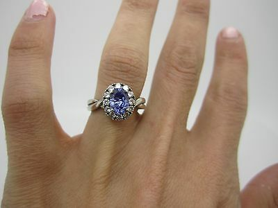 UNIQUE VINTAGE SOLID SILVER Beautiful TANZANITE Cluster & CZ Cocktail RING MARK
