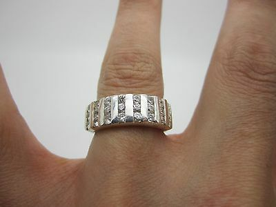 SIZE K UNUSUAL VINTAGE SOLID SILVER ETERNITY Ring SET with WHITE STONES 925