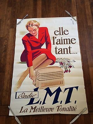 Ancienne  Grande affiche vintage pin up  tsf radio lit