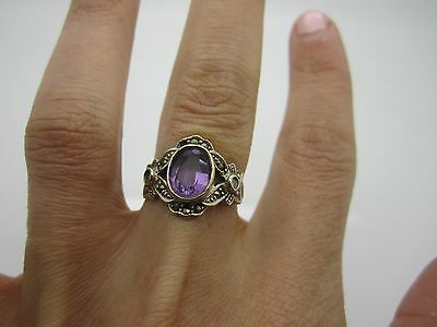UNIQUE VINTAGE SOLID SILVER VICTORIAN Ring with Amethyst & Marcasite MARKED 925