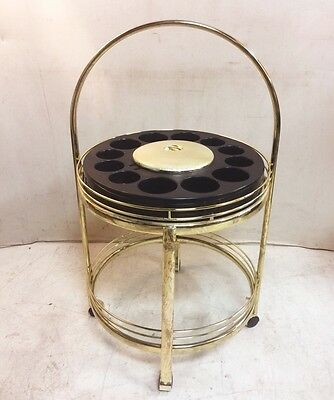 Retro Round Two Tier Bar Cart with Built in Ice Bucket $350