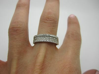 SIZE S UNUSUAL VINTAGE SOLID SILVER ETERNITY Ring SET with WHITE STONES 925 4.3G