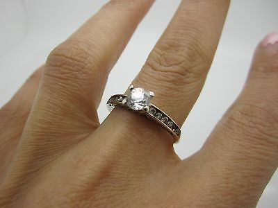 SIZE S SOLID SILVER WIDE ENGAGEMENT Ring CENTRAL STONE & SET WHITE STONES 925