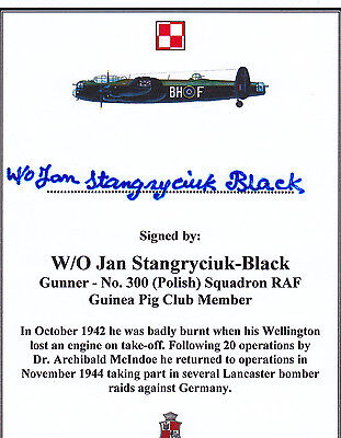 SIGNED Bookplate/Card - WWII Polish Lancaster Aircrew / Member Guinea Pig Club