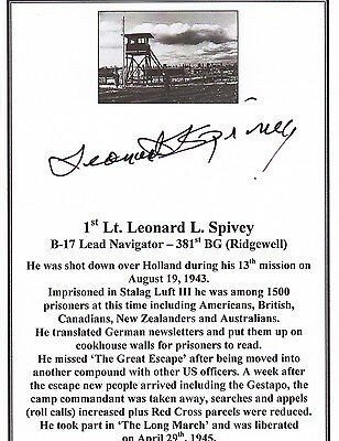 SIGNED Bookplate/Card - WWII B-17 Bomber Navigator - Stalag Luft III P.O.W