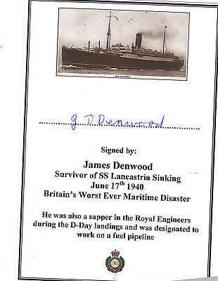 New SIGNED Bookplate/Card - Survivor of 1940 SS Lancastria Sinking