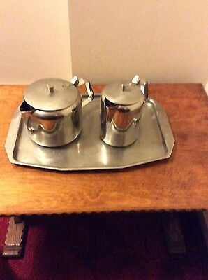 vintagge stainless steel tea set-tea pot and water jug on tray