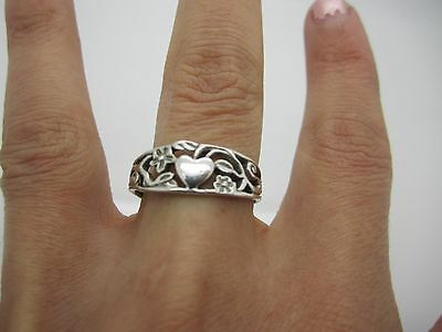 Size O Vintage Stunning Solid Silver Unique Classic Heart Celtic Ring Mark 925