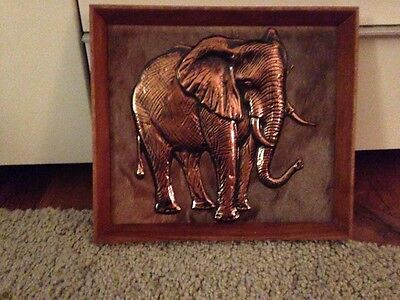 vintage plaque picture of a elephant copper and fur Rhodesia quirky loft find