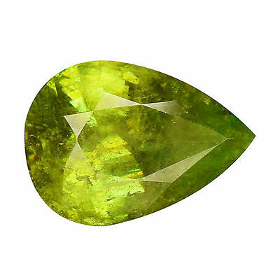 2.00Cts Extraordinary Luster Green Natural Sphene Pear Loose Gemstones