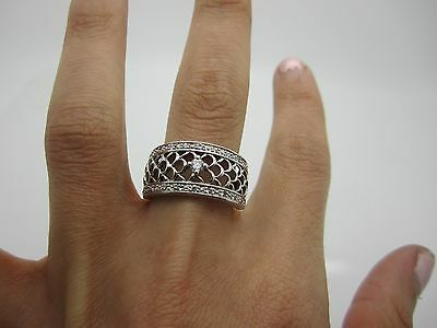 SIZE Q STUNNING SOLID SILVER PIERCED WIDE COCKTAIL Ring SET WHITE STONES 925