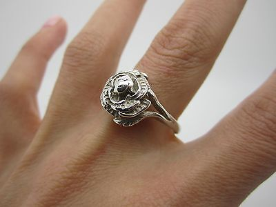 Size W Vintage Stunning Solid Silver Unique Rose Flower Ring Mark 925 - 4.8 Gr
