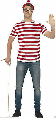 Adult Men's Party Costume Where's Wally Kit (T-Shirt Hat & Glasses) Fancy Dress