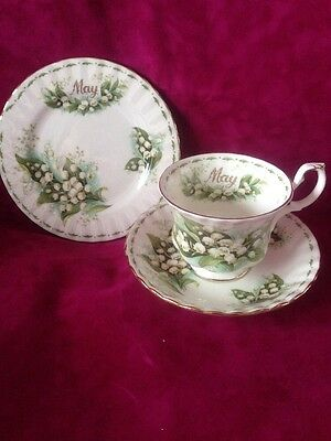 Royal Albert Bone China Flower Of The Month. May Lily Of The Valley Trio