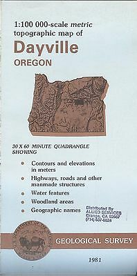 US Geological Survey topographic map metric DAYVILLE Oregon 1981