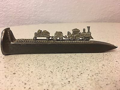 Authentic Railroad Spike with Miniature Pewter Train and Rail Cars