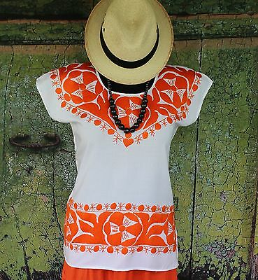 Hand Embroidered Orange & White Huipil / Blouse, Jalapa Mexico Hippie Cowgirl
