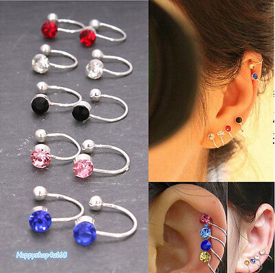 Fake Clip-on Crystal Silver Plated Earrings For Tragus Helix Cartilage UK Seller