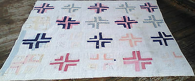 Antique Vintage Quilt Completely Hand Stitched Crosses Batting Feedsack Age?