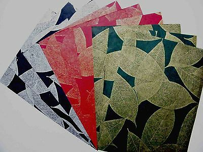 12pcs.HANDMADE MULBERRY WRAPPING PAPER SHEET SCRAPBOOK CRAFT BLACK, RED & GREEN