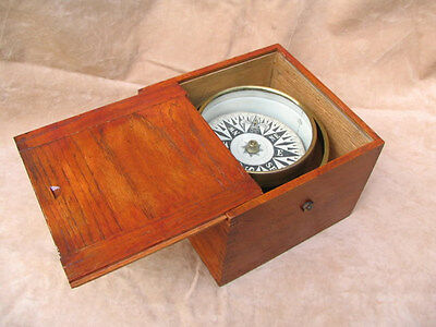 Mid 19th century gimbaled ships compass in oak box.