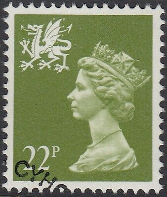 GB Stamps 1984 Wales Regional, 22p Yellow Green, Phos Ppr, VFU from FDC, S/G W55