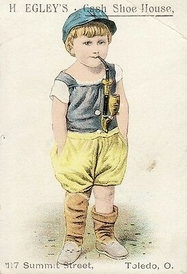 Vintage Advertising Trade Card. Child Smoking Pipe. Toledo,  Ohio
