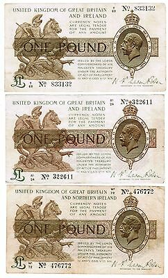 English 1 Pound – Warren-Fisher all 3 issues 1919, 1923 & 1927
