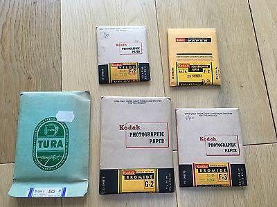 5 X Rare SEALED Vintage Photographic Paper Kodak and Tura