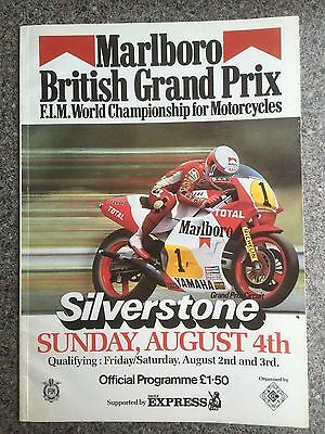 Motor cycle racing programme Silverstone British Grand Prix 1985