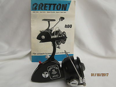 """Vintage """"Excellent! """"Bretton #400 Spinning Reel With Instructions!Made In France"""