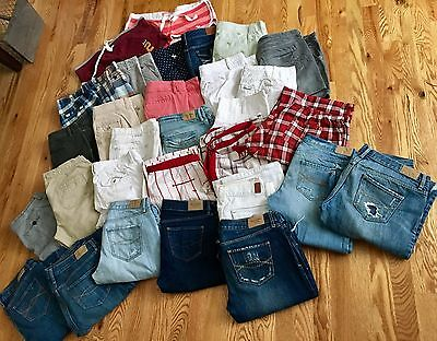 Huge Lot- 31 Abercrombie & Fitch- Jeans, Pajama Pants, Shorts, Skirts Size 4/4L