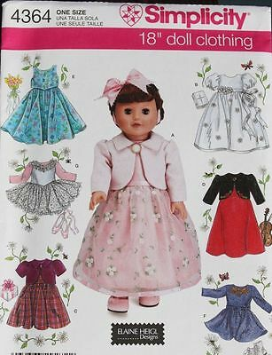 Simplicity 4364 American Girl 18 Doll Clothes Pattern Dress, Bolero New