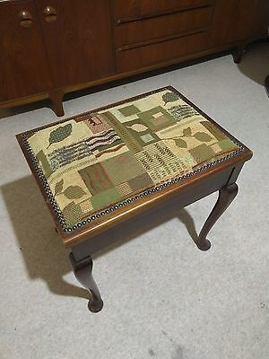 Delightful Upholstered Antique Piano Stool