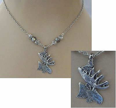 Silver Moose Pendant Necklace Jewelry Handmade NEW Chain Adjustable Fashion
