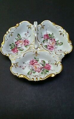 Vintage Divided Candy Dish With Handle Floral  - 3 Sections Gold Trim