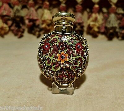 ANTIQUE SAMPSON MORDAN SILVER SCENT BOTTLE Victorian Bohemian Spode Porcelain