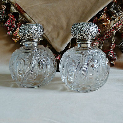 VICTORIAN PAIR WALKER & HALL TABLE SCENT BOTTLES Antique Silver & Cut Glass 1901