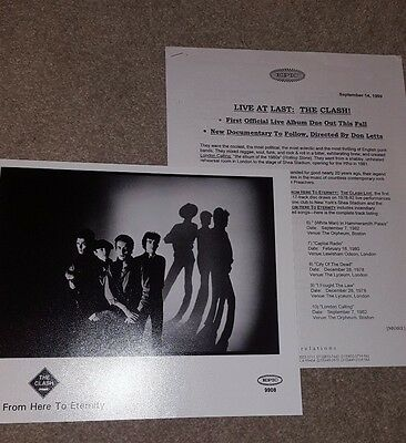 THE CLASH Live At Last Press Kit including 10 x 8 ORIGINAL 1999