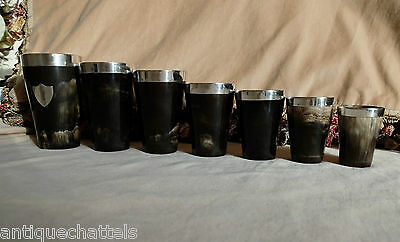 SET OF 7 VICTORIAN SILVER, HORN & GLASS BEAKERS 1884 Antique Horn Drinking Cups