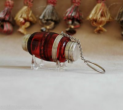 VICTORIAN SILVER CRANBERRY GLASS VINAIGRETTE SCENT BOTTLE Antique Chatelaine