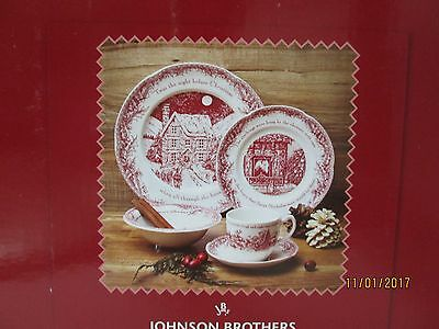 """Johnson Brothers """"twas The Night"""" 5 Piece Set Place Settings..new"""