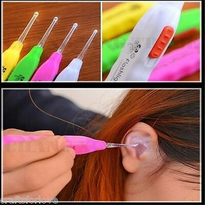Safety Ear Cleaner Earwax Spoon Ear Pick Remover Curette LED Flashlight Light