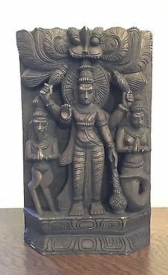 Balinese Goddess Asian Wood Carving  Wall Plaque
