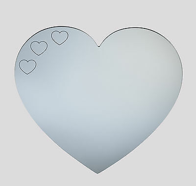 Heart acrylic mirror 3 small etched hearts  - home childrens wall shatterproof