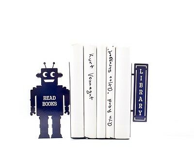 Atelier Article - Gift Steel bookends - Reading robot Read book Library (Purple)